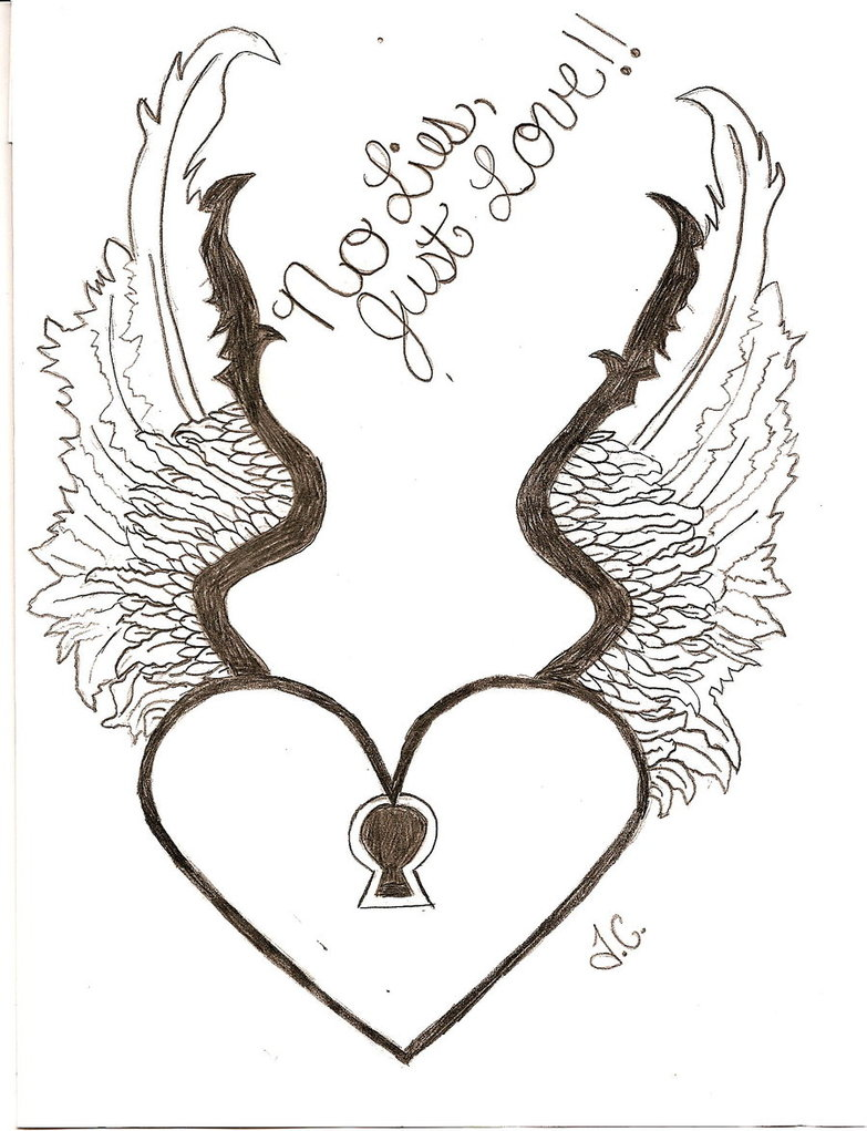 perfect heart with wings tattoo drawing for boys - Drawing For Boys