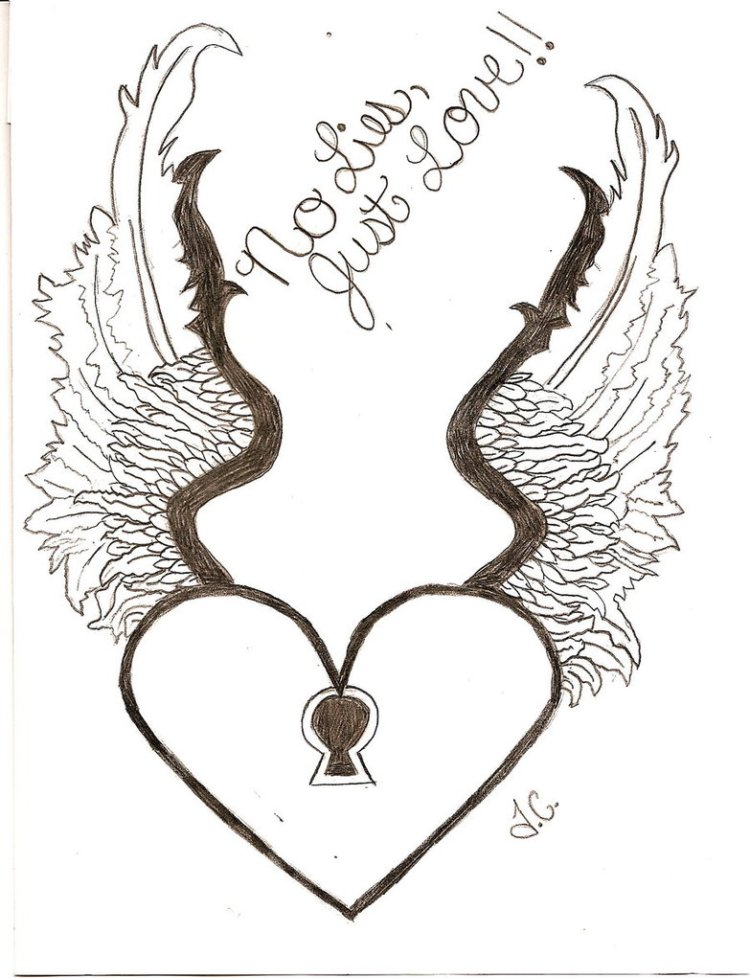 Perfect Heart With Wings Tattoo Drawing For Boys