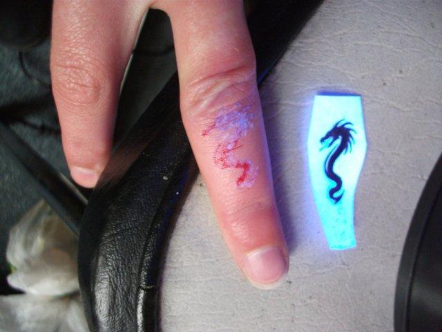 Perfect UV Dragon Finger Tattoo Design For Girls