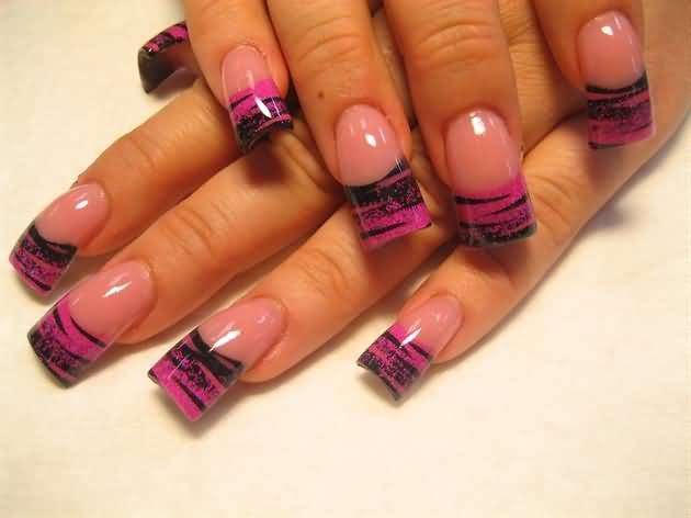 Phenomenal Black And Pink Nails With Pink Nail Design