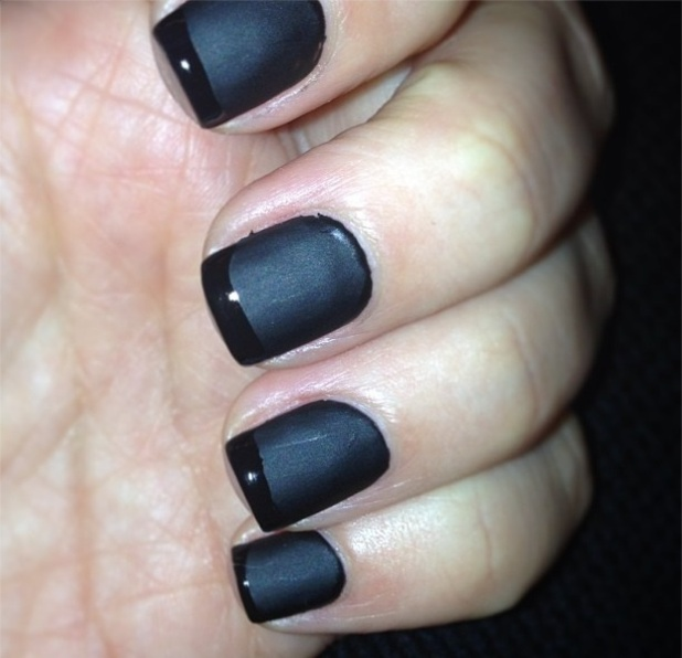 Phenomenal Black French Tip Nails With Dark Black Color Nail Paint