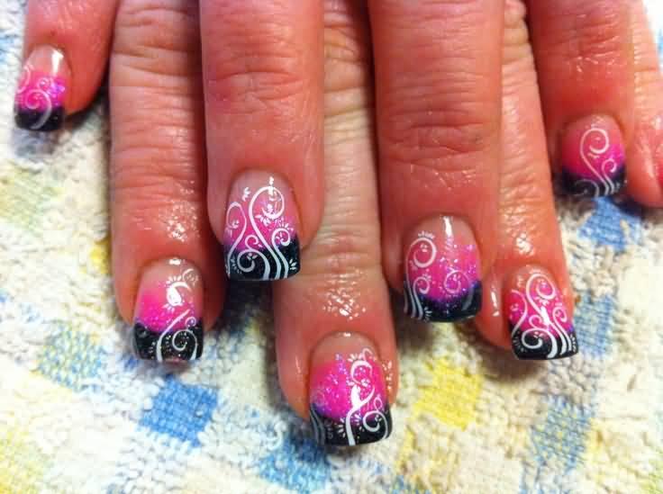 Phenomenal Black tip With White Paint design Pink Acrylic Nail Art Design