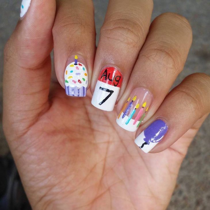 Phenomenal Colorful Ice Cream And Candles With Birthday Nails