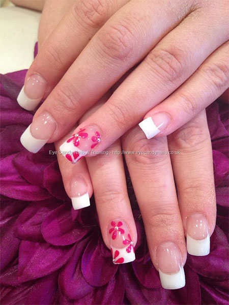 Phenomenal Pink Color flower Pink Acrylic Nail Design
