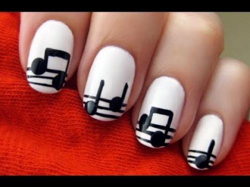 Phenomenal White And Black Nail Art With Music Symbol
