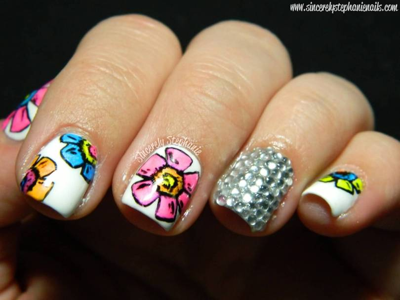 Phenomenal White Paint With Flower Accent Nail Art