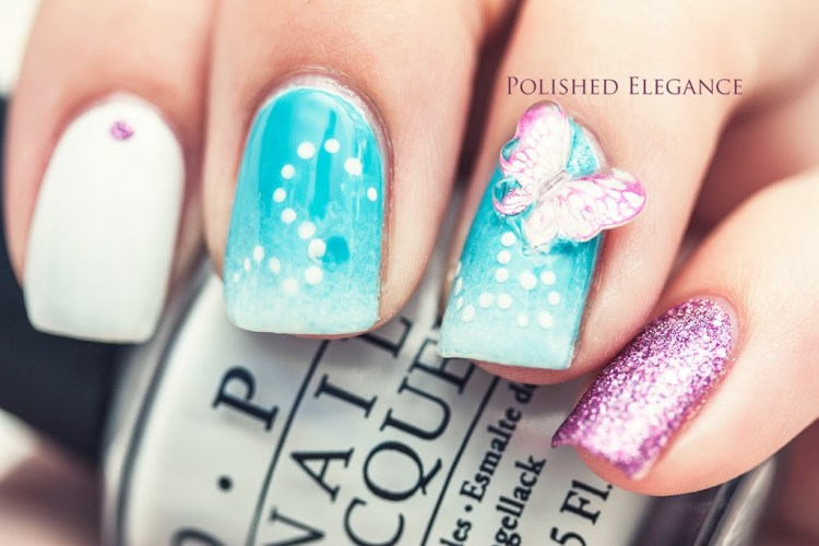 Phenomenal 3D Butterflies Nail Art With Light Blue Ink & White Color