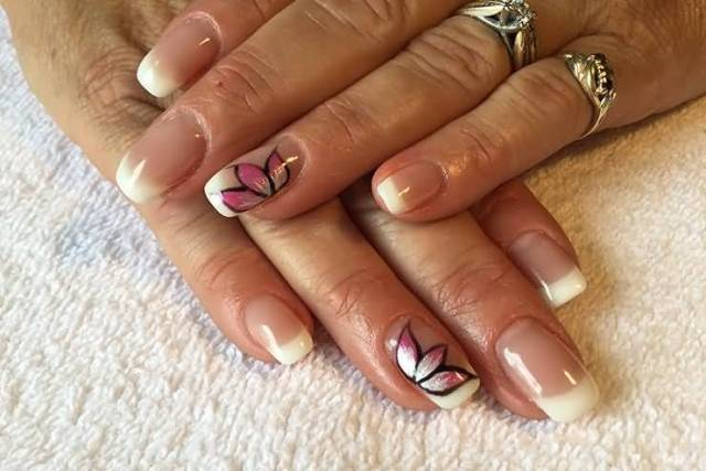 Pink Flower With Natural Tip Accent Nail Art