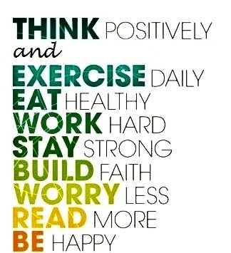 Positive Sayings think positively and exercise daily eat healthy work hard stay strand build faith
