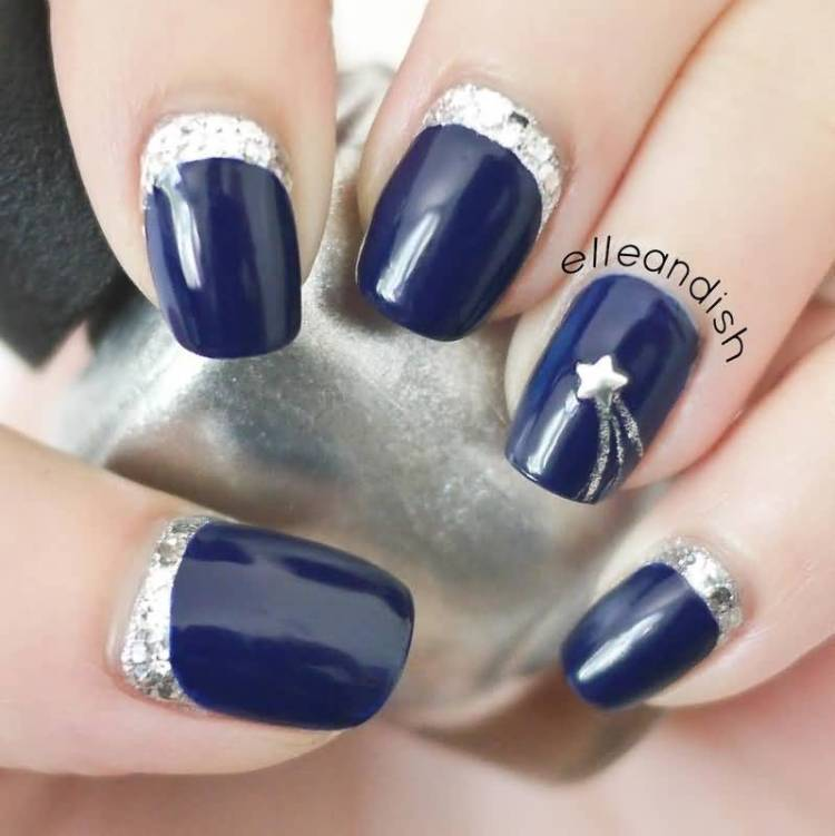Purple Color Paint With Silver Ends Accent Nail Art