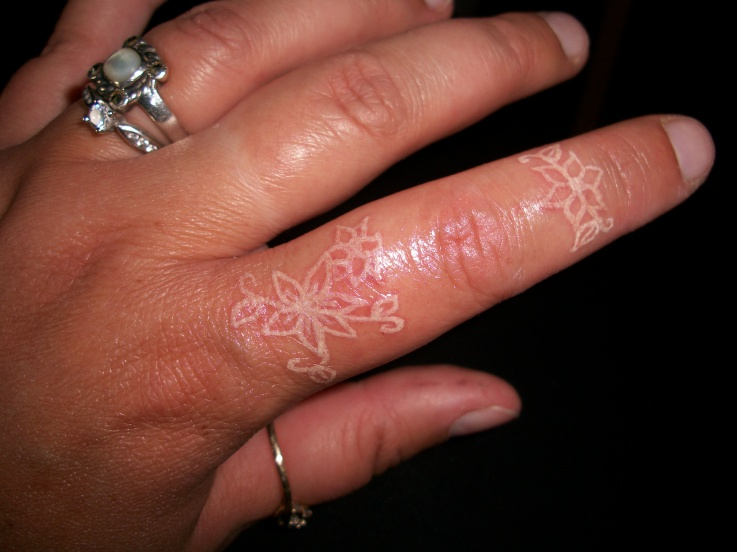 Realistic Flower Tattoo On Finger For Boys