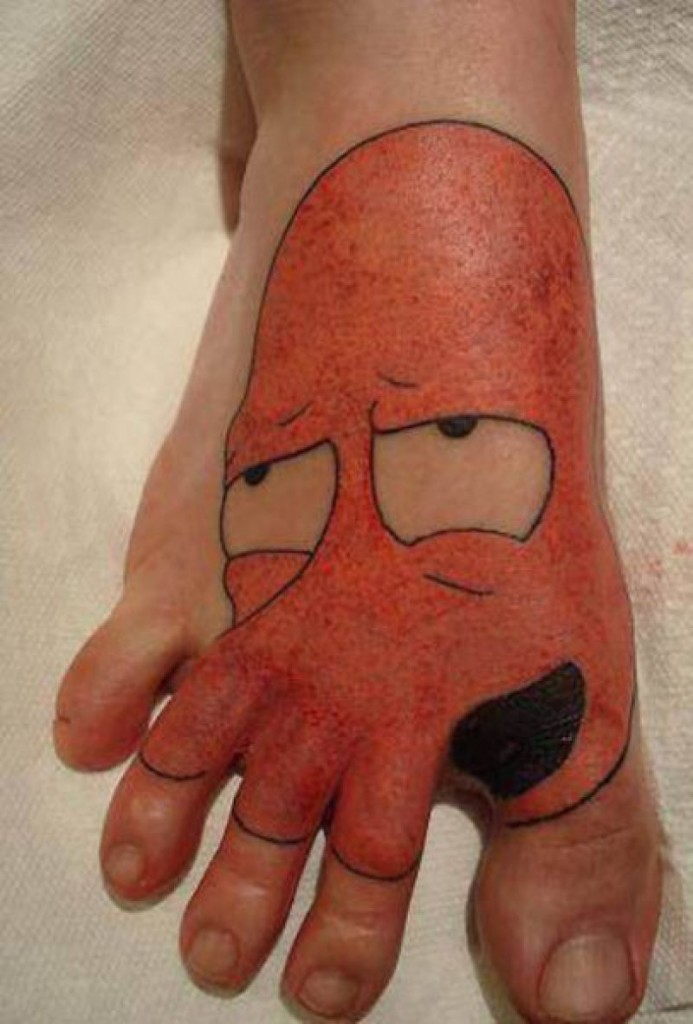 Realistic Funny Foot Tattoo Design For Boys