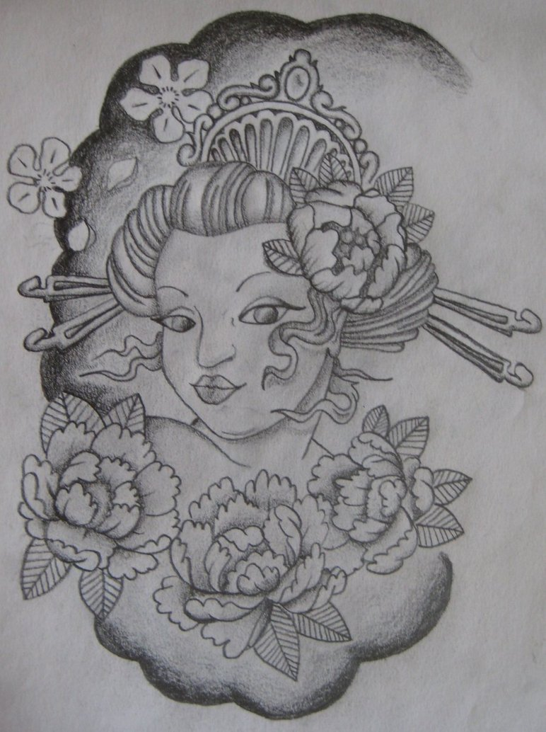 Realistic Geisha Girl Tattoo Design For Boys