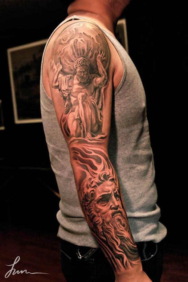 Realistic Greek Sleeve Tattoo Design For Tattoo Fans