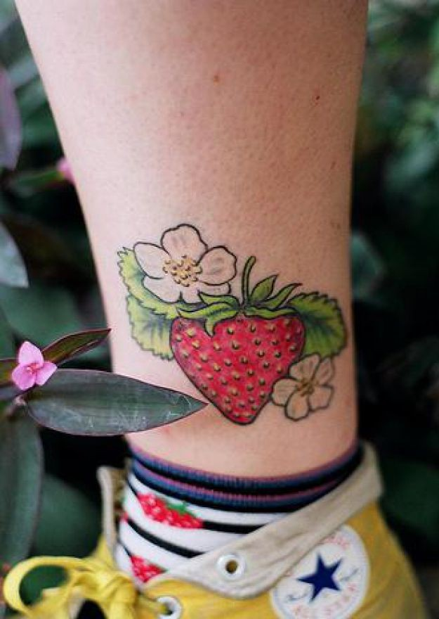 Realistic Strawberry Fruit Tattoo Design On Ankle For Girls
