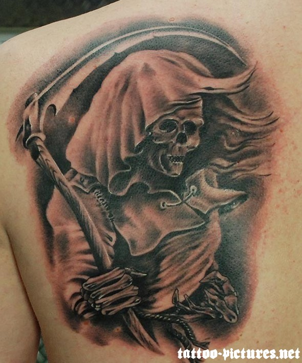 Sensation Death Grim Reaper Tattoo On Back Shoulder For Boys