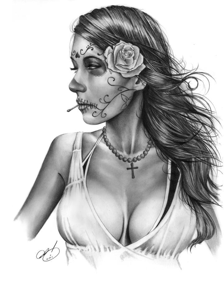 Sensation Dia De Los Muertos Tattoo For Girls