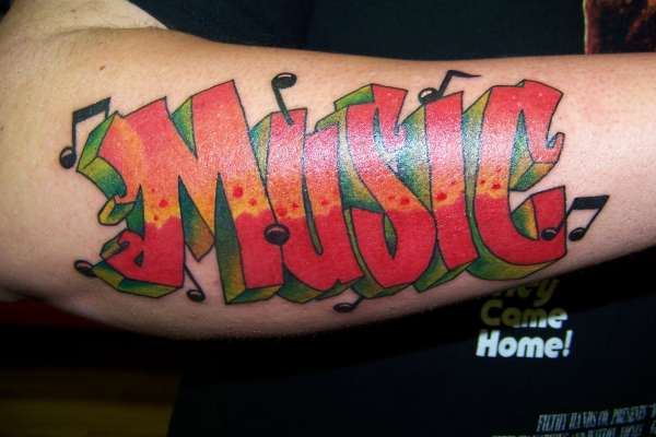 Sensation Music Graffiti Tattoo Design For Boys