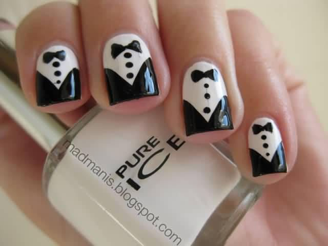 Sensational Black Nail Art Design With Bow And Suit Design