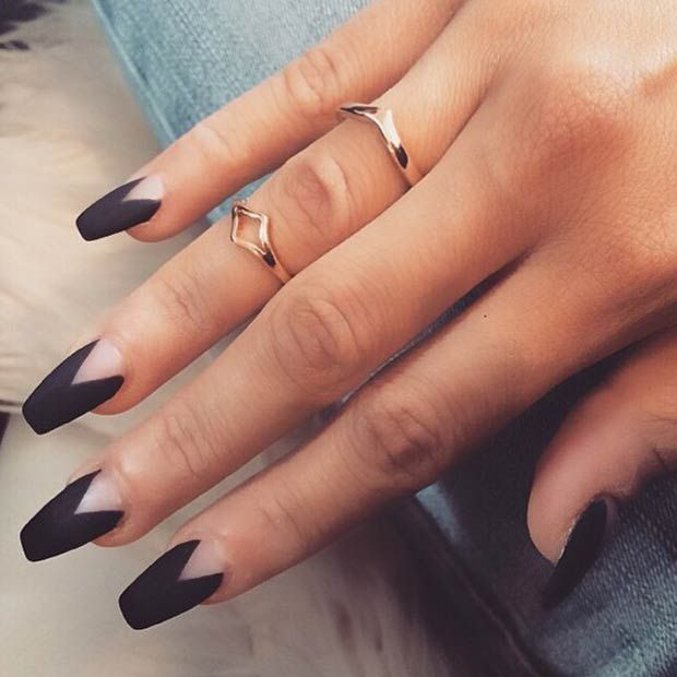 Sensational Black Nail Art Design With V Shape Design