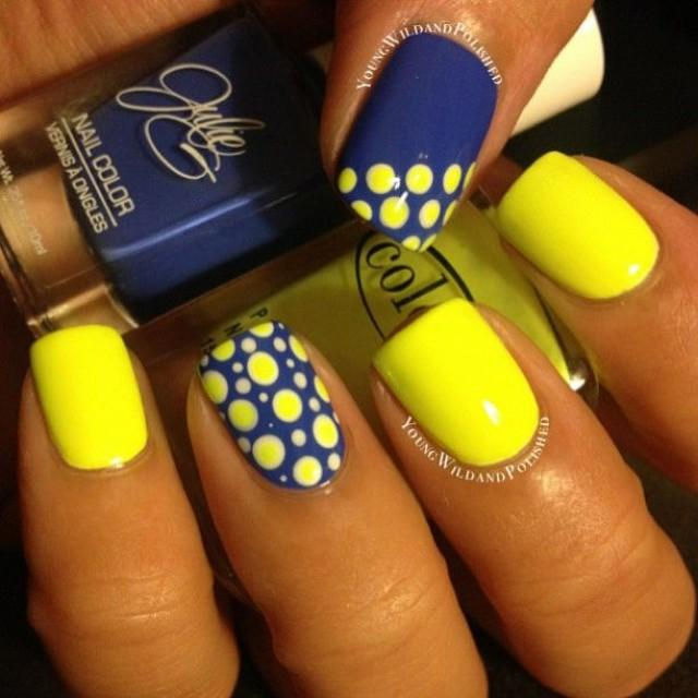 Sensational Polka Nail Design Yellow And Blue Nails