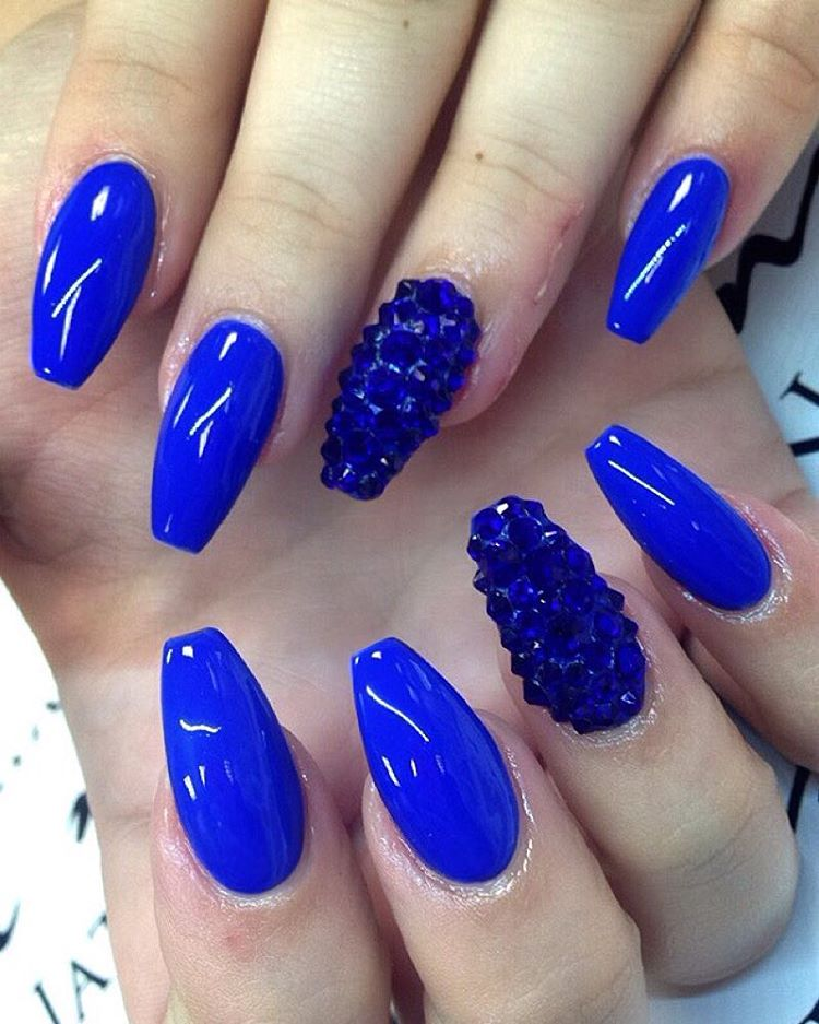 Sharp Blue Nail Paint With Crystal Accent Nail Art