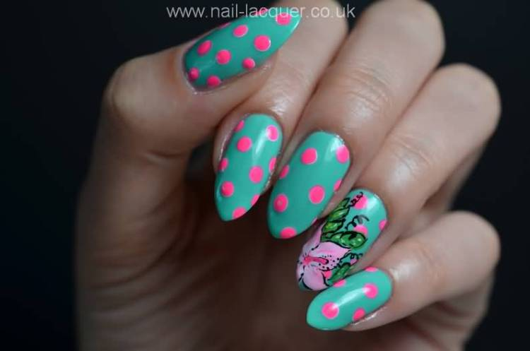 Sharp Blue Nail Paint With Dotes Accent Nail Art