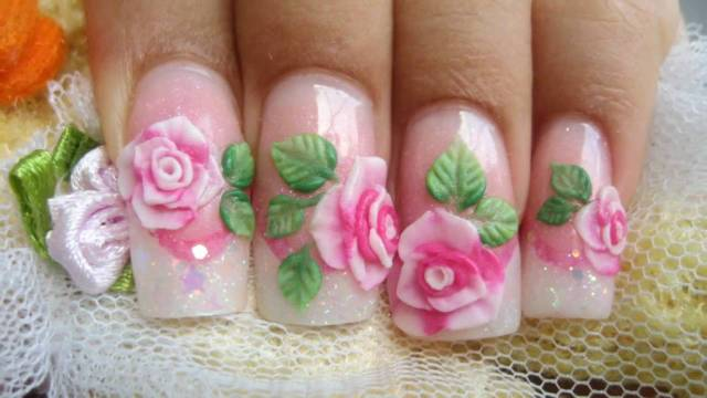 Shining Pink Rose Nail Paint 3D Rose Flower Nail Art