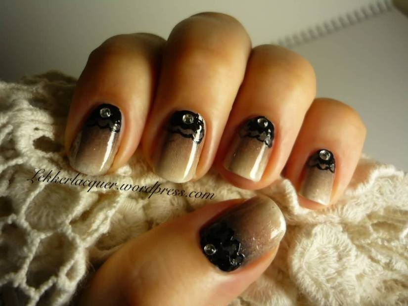 Simple Black And Beige Nail Art With Dark Paint Design