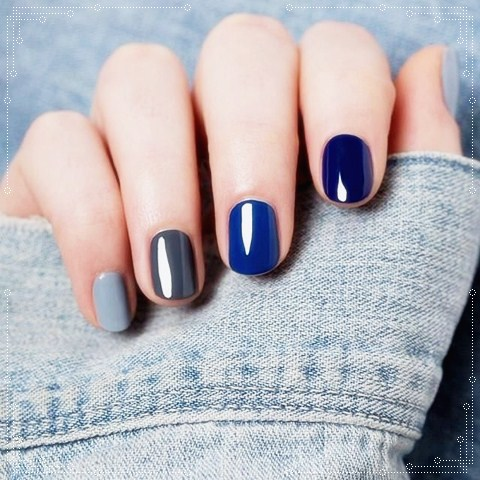 Simple Blue Nail Art With Different Shades