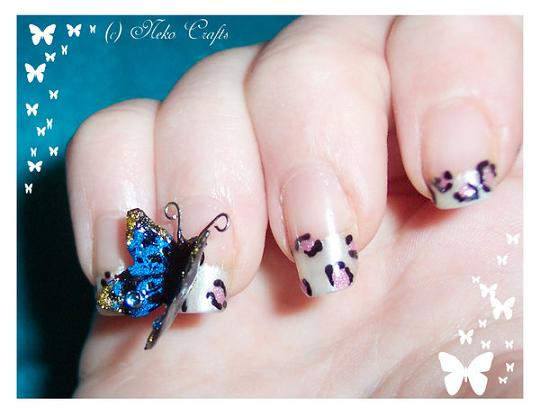 Simple Natural Color With Black Dotted 3D Butterflies Nail Art