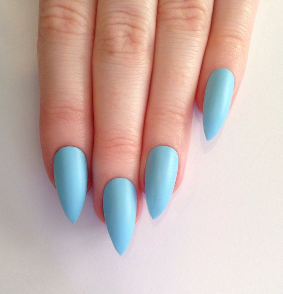 Simple Stiletto Nails With Full Sky Blue Color