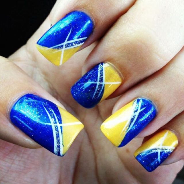 Simple Yellow And Blue Nails With Diagonal Design