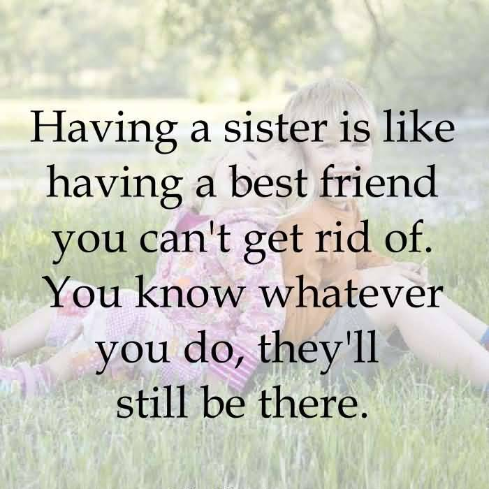 Sister In Law Quotes Having a sister is like having a best friend you can't get rid of