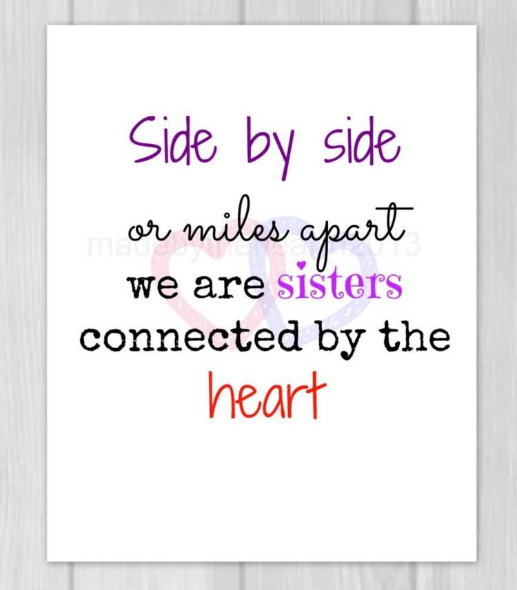 Sister In Law Quotes Side by side or miles apart we are sisters connected by the heart
