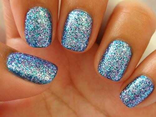 Sparkle Blue Paint Accent Nail Art