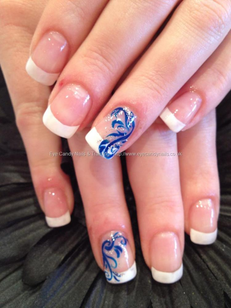 Sparkling Blue Nail With leave Design