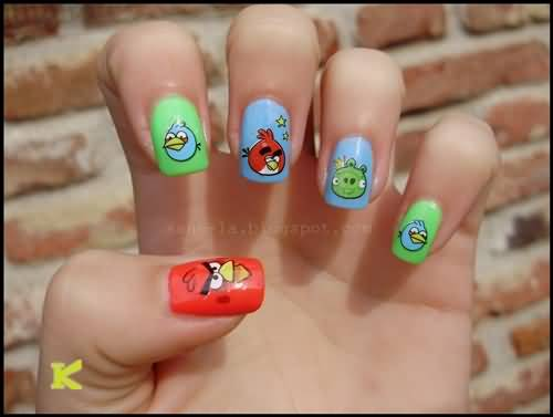 Sparkling Different Color design Angry Bird Nail Art Design
