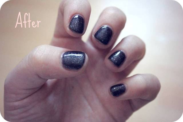 Sparkling Full Black Paint Design Acrylic Short Nail Design