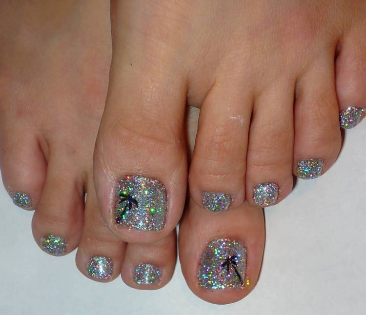 Sparkling Silver Color Nail Paint With Black Tree Accent Nail Art