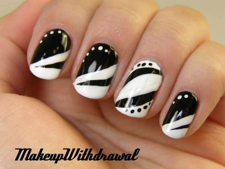 Sparkling White Tip With Great Design Black And White Nail Art