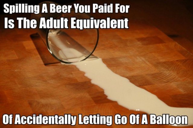 Spilling A Beer You Paid For Is The Adult Equivalent Funny Beer Memes Graphics