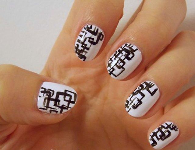 Squares Design White Soft Hands Black And White Nail Art