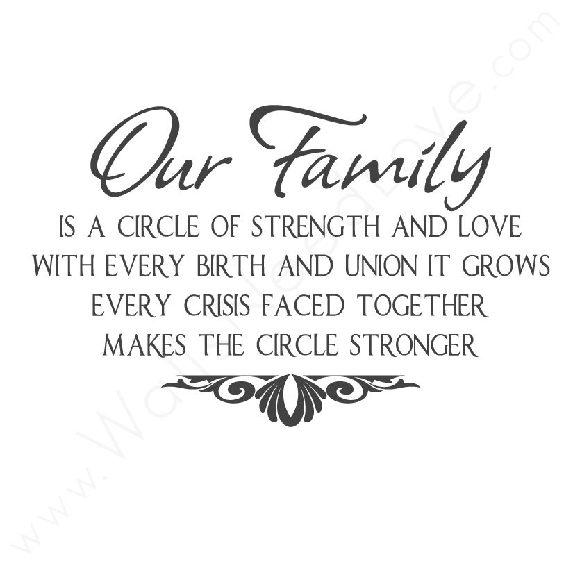 Strength Quotes Out FAmily Is A Circle Of Strength And Love With Every Birth And Union It Grows Every