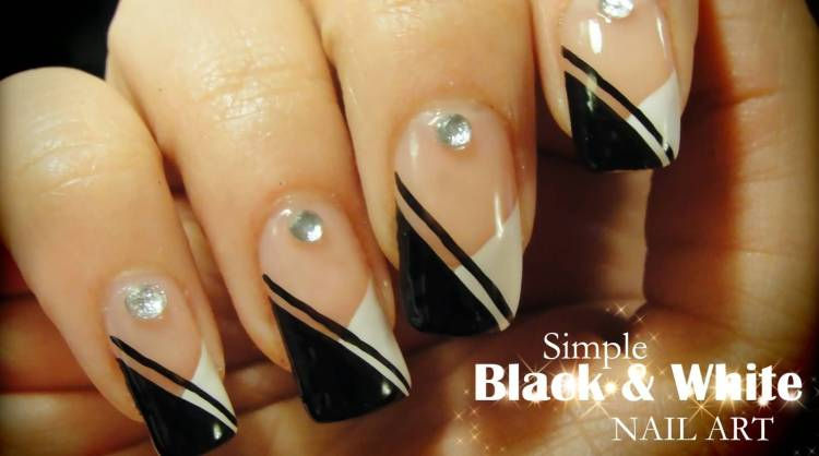 Stunning Black And White Nail Art Design With Crystal