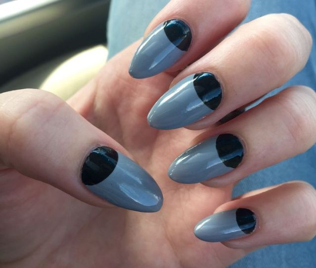 Stunning Black Half Moon Nail With Grey Nails