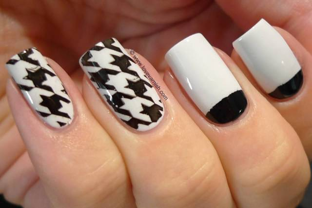 Stunning Black Half Moon Nail With White Paint