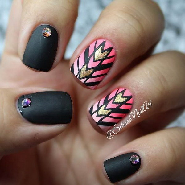 Stunning Black Nail Art Design With Red Paint Design