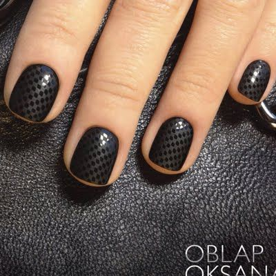 Stunning Black Nail Art Design With Small Checks Design