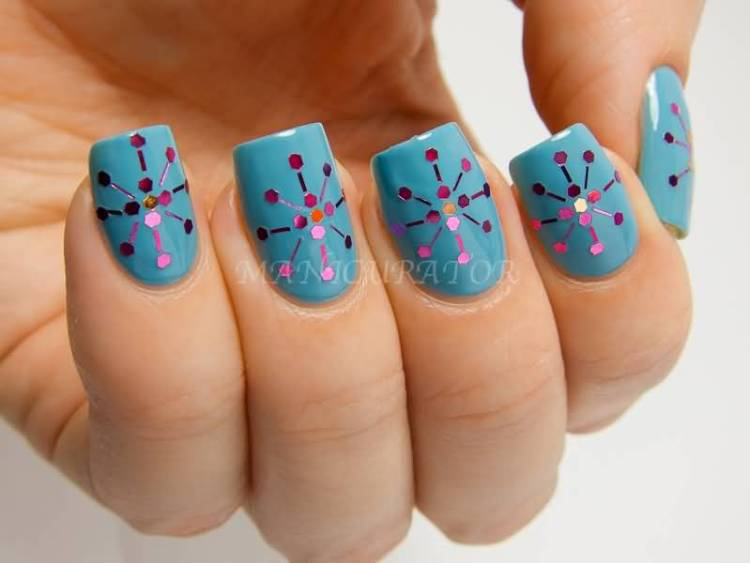 Stunning Blue Nail Art With Dot Design